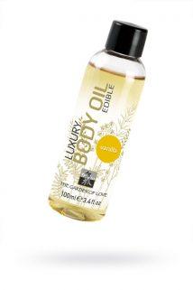 Съедобное масло для тела с ароматом ванили 100 мл, Категория - Интимная косметика/Средства для массажа/Гели и масла, Атрикул 0T-00000847 Изображение 1