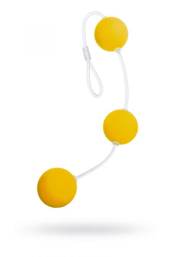 Анальные шарики Sexus Funny Five, ABS пластик, желтые, 19,5 см, Категория - Секс-игрушки/Анальные игрушки/Анальные шарики, цепочки, елочки, Атрикул 0T-00000486 Изображение 1