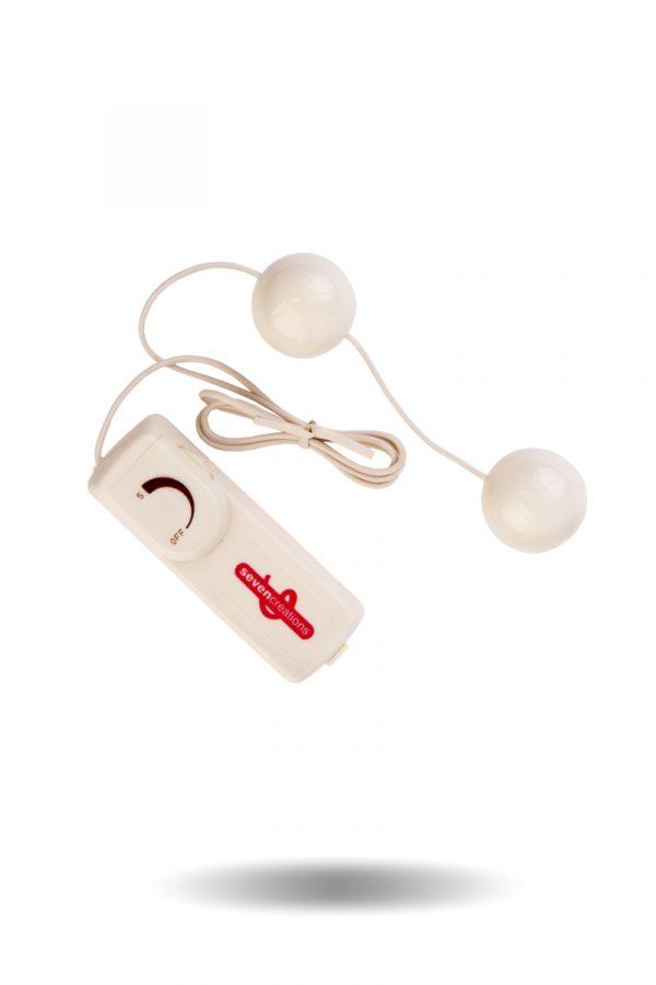 Вагинальные шарики Dream Toys с вибрацией, белые, Ø3,5 см, Категория - Секс-игрушки/Вагинальные шарики и тренажеры интимных мышц/Вагинальные шарики, Атрикул 00010061 Изображение 1