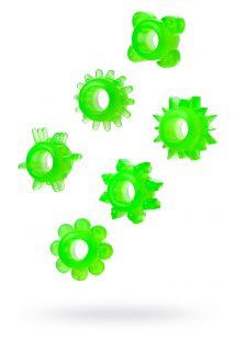Набор колец на пенис 6 шт TOYFA, TPE, зеленый, Категория - Секс-игрушки/Кольца и насадки/Наборы колец и насадок, Атрикул 00137291 Изображение 1