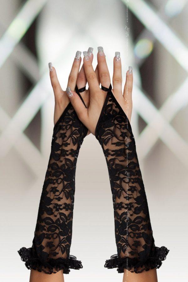 Перчатки кружевные, до локтя, черные-S/L, Категория - Белье и одежда/Аксессуары для белья и одежды/Украшения на руки, ноги, Атрикул 00135348 Изображение 1
