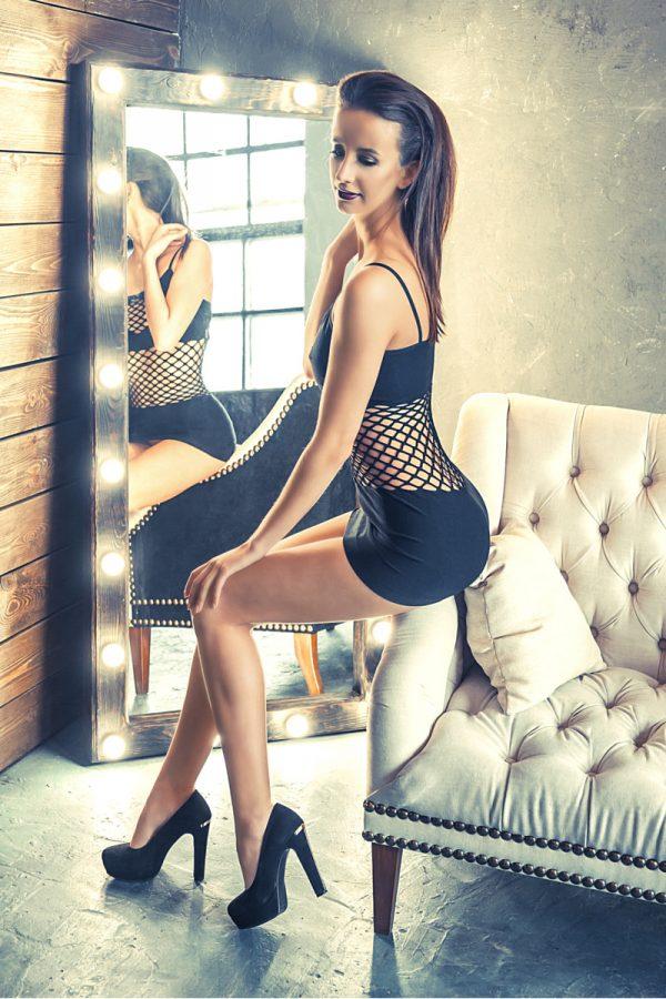 S/L Платье бесшовное Erolanta Net Magic с вставками из крупной сетки, черное, S/L, Категория - Белье и одежда/Женская одежда и белье/Эротические платья, юбки, Атрикул 0T-00000359 Изображение 3