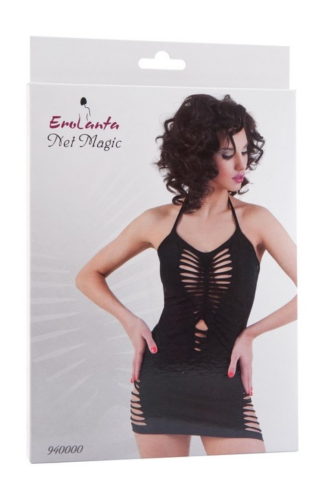 S/L Платье бесшовное Erolanta Net Magic с открытой спиной, черное, S/L, Категория - Белье и одежда/Женская одежда и белье/Эротические платья, юбки, Атрикул 0T-00000354 Изображение 3