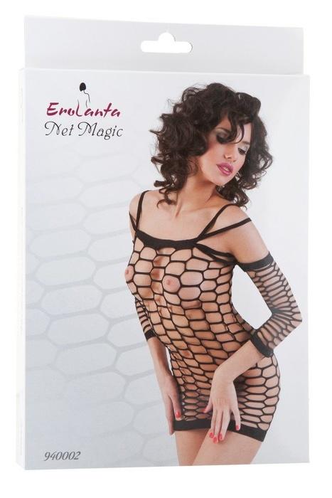 S/M Платье-сетка Erolanta Net Magic бесшовное с рукавами, черное, S/M, Категория - Белье и одежда/Женская одежда и белье/Костюмы и платья в сетку, Атрикул 0T-00000357 Изображение 3