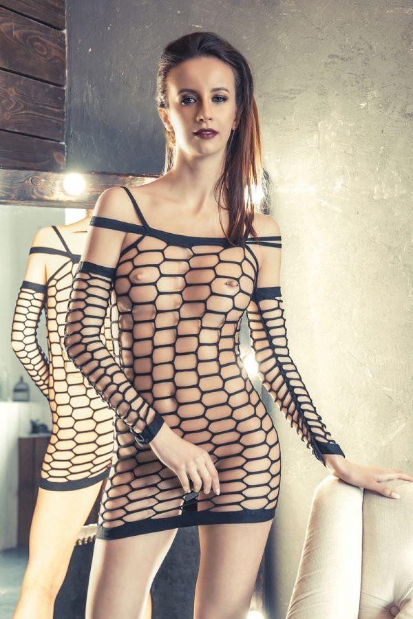 S/M Платье-сетка Erolanta Net Magic бесшовное с рукавами, черное, S/M, Категория - Белье и одежда/Женская одежда и белье/Костюмы и платья в сетку, Атрикул 0T-00000357 Изображение 1