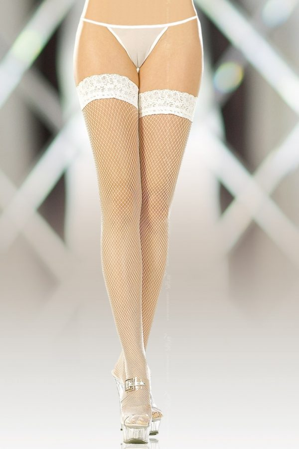4-XL Чулки-сетка (c силик. полосками) белые-XL, Категория - Белье и одежда/Чулки и колготки/Чулки, Атрикул 00007146 Изображение 1