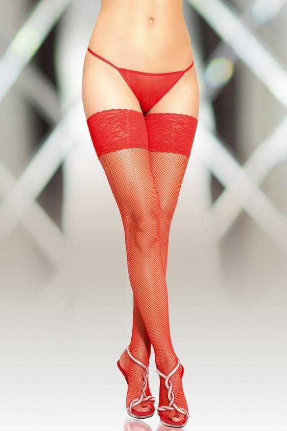 4-XL Чулки-сетка шов красные-XL, Категория - Белье и одежда/Чулки и колготки/Чулки, Атрикул 00139880 Изображение 1