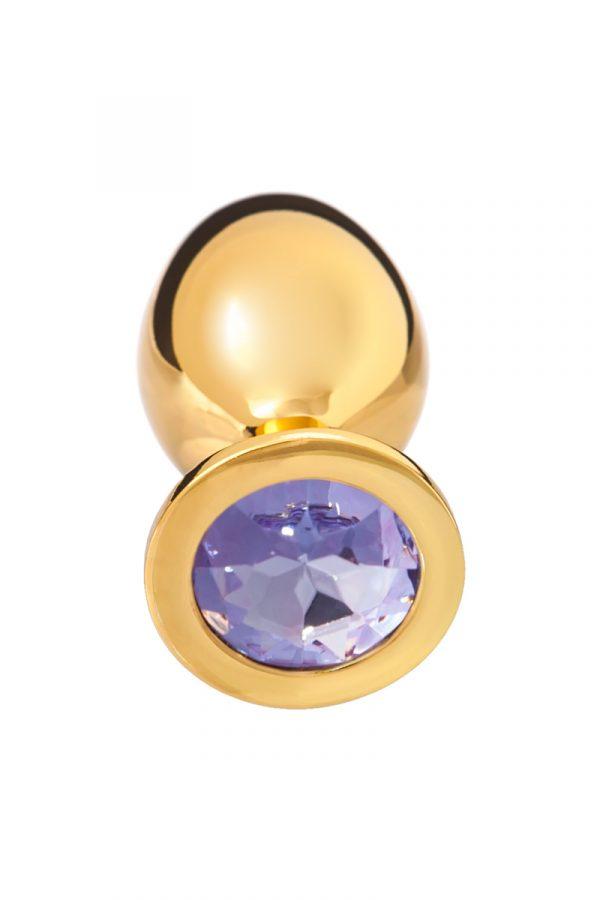 Анальная втулка, большая, золотая с нежно-фиолетовым кристаллом, Категория - Секс-игрушки/Анальные игрушки/Анальные втулки с украшениями, Атрикул 00140044 Изображение 2