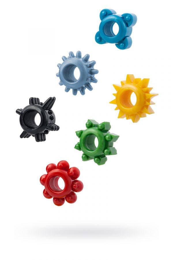 Набор разноцветных колец на пенис 6 шт. TOYFA, TPE, Категория - Секс-игрушки/Кольца и насадки/Наборы колец и насадок, Атрикул 00137290 Изображение 1