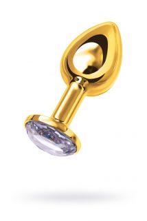 Анальная втулка TOYFA Metal маленькая, золотая, с белым кристаллом, Категория - Секс-игрушки/Анальные игрушки/Анальные втулки с украшениями, Атрикул 0T-00002622 Изображение 1