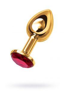 Анальная втулка TOYFA Metal маленькая, золотая, с рубиновым кристаллом, Категория - Секс-игрушки/Анальные игрушки/Анальные втулки с украшениями, Атрикул 0T-00002623 Изображение 1