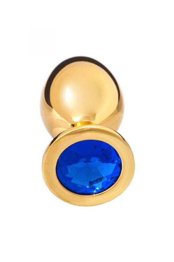 Анальная втулка, большая, золотая, с синим кристаллом, Категория - Секс-игрушки/Анальные игрушки/Анальные втулки с украшениями, Атрикул 0T-00002549 Изображение 2