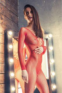 S/L Костюм-сетка Erolanta Net Magic бесшовный с имитацией шнуровки, красный, S/L, Категория - Белье и одежда/Женская одежда и белье/Костюмы и платья в сетку, Атрикул 0T-00003597 Изображение 1