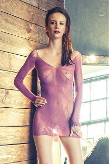 S/L Платье Erolanta Net Magic бесшовное с рукавами, с цветочным рисунком, пурпурное, S/L, Категория - Белье и одежда/Женская одежда и белье/Костюмы и платья в сетку, Атрикул 0T-00003583 Изображение 1