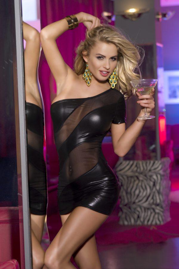 XL XL Клубное платье Candy Girl с открытым плечом, черное, Категория - Белье и одежда/Женская одежда и белье/Эротические платья, юбки, Атрикул 0T-00003930 Изображение 1