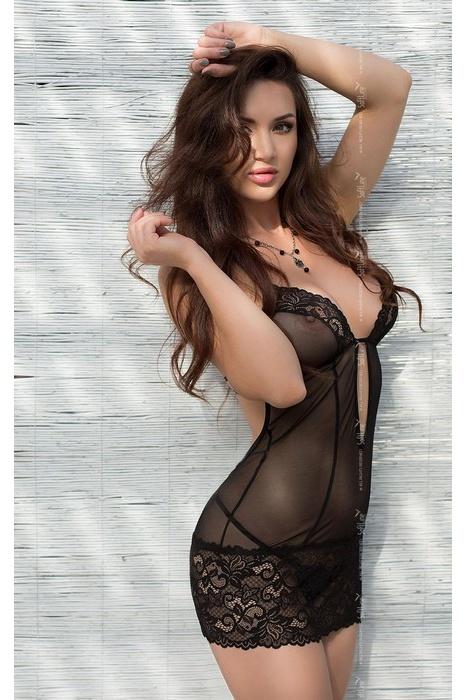 S/M Larisa - Комбинация и стринги черные-S/M, Категория - Белье и одежда/Женское нижнее белье/Комбинации, ночные сорочки, пеньюары, Атрикул 0T-00005047 Изображение 1