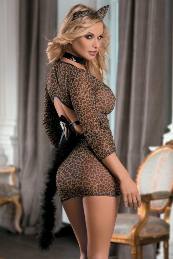 One Size Костюм кошки Candy Girl (платье, стринги, чокер, ушки), леопардовый, OS, Категория - Белье и одежда/Женская одежда и белье/Игровые костюмы, Атрикул 0T-00005002 Изображение 2