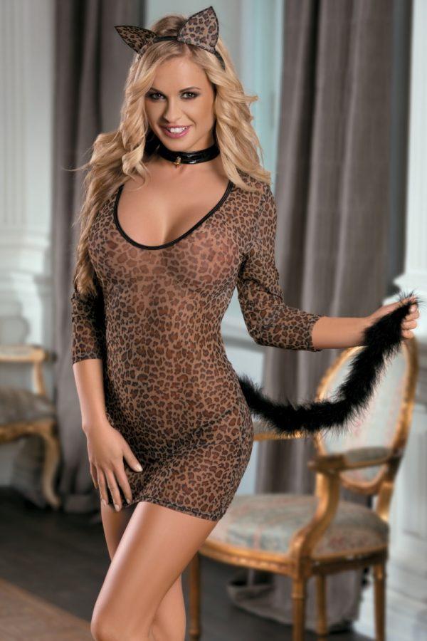 One Size Костюм кошки Candy Girl (платье, стринги, чокер, ушки), леопардовый, OS, Категория - Белье и одежда/Женская одежда и белье/Игровые костюмы, Атрикул 0T-00005002 Изображение 1