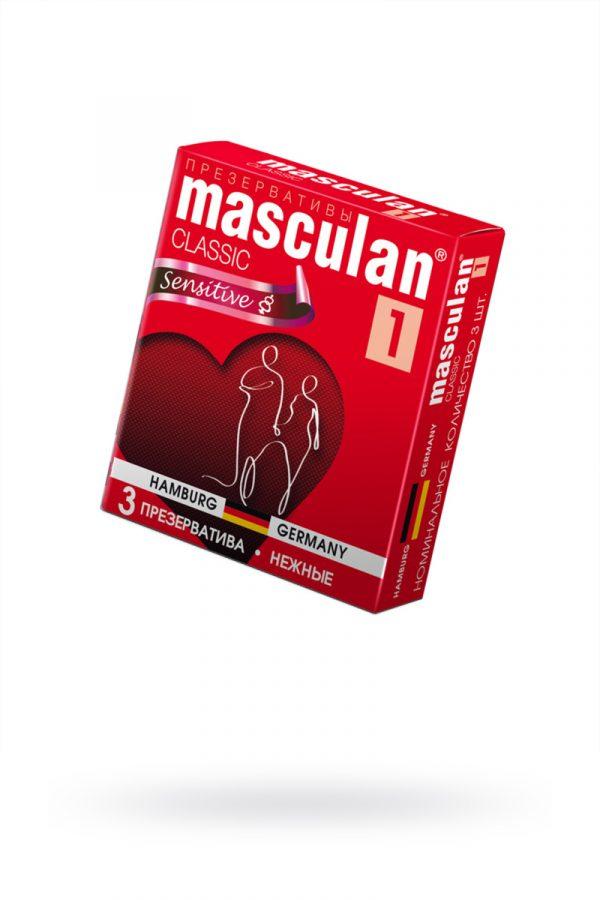 Презервативы Masculan Classic 1,  3 шт.  Нежные (Senitive) ШТ, Категория - Презервативы/Классические презервативы, Атрикул 0T-00005537 Изображение 1