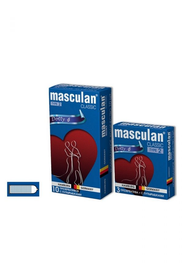 Презервативы Masculan Classic 2,  3 шт.  С пупырышками (Dotty)  ШТ, Категория - Презервативы/Рельефные и фантазийные презервативы, Атрикул 0T-00005538 Изображение 3