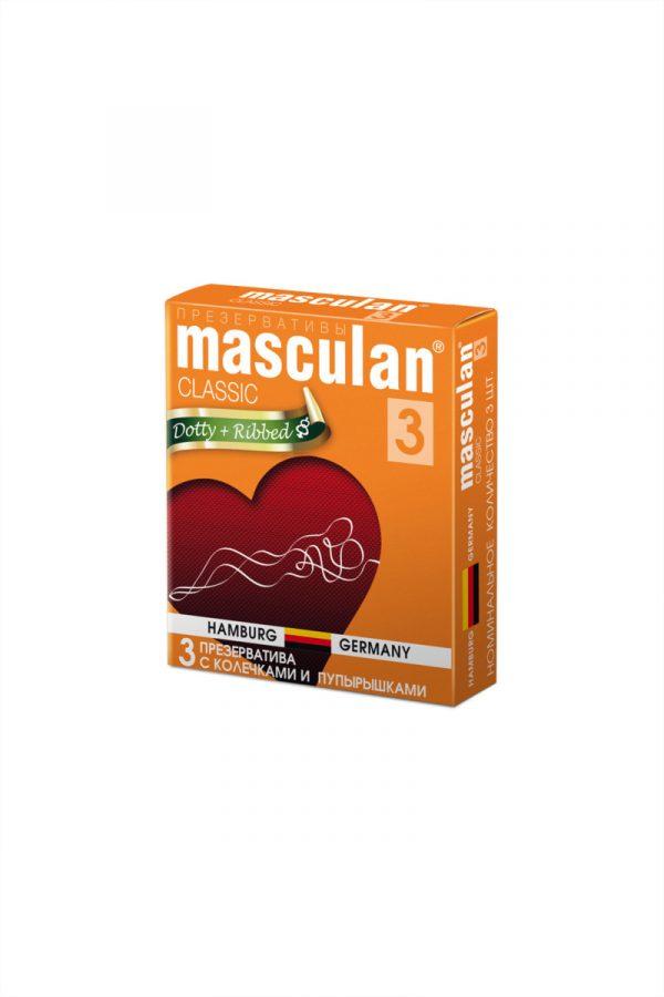 Презервативы Masculan Classic 3 , 3 шт.  С колечками и пупырышками (Dotty+Ribbed)  ШТ, Категория - Презервативы/Рельефные и фантазийные презервативы, Атрикул 0T-00005539 Изображение 2