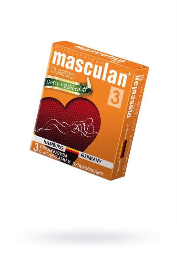 Презервативы Masculan Classic 3 , 3 шт.  С колечками и пупырышками (Dotty+Ribbed)  ШТ, Категория - Презервативы/Рельефные и фантазийные презервативы, Атрикул 0T-00005539 Изображение 1