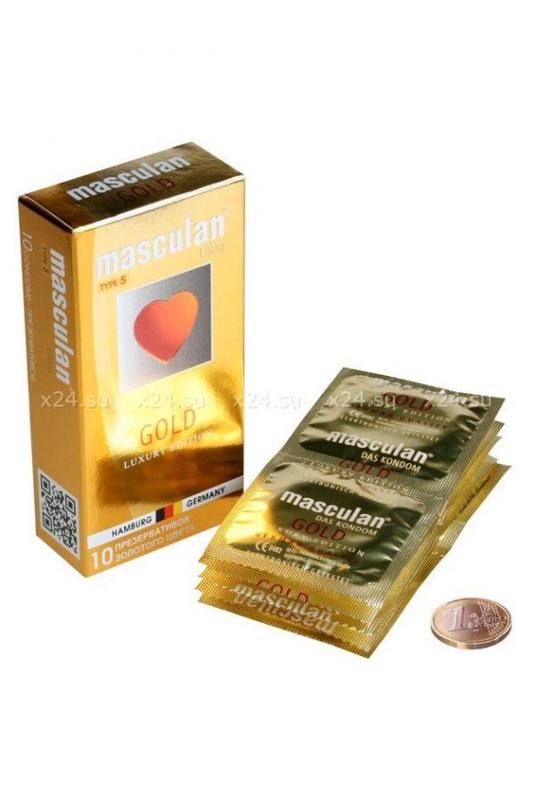 Презервативы Masculan 5 Ultra Золотого цвета, 10шт, Категория - Презервативы/Классические презервативы, Атрикул 0T-00005553 Изображение 3