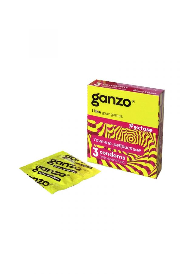 Презервативы Ganzo Extase № 3 Точечные и ребристые, анатомической формы ШТ, Категория - Презервативы/Рельефные и фантазийные презервативы, Атрикул 0T-00005750 Изображение 1