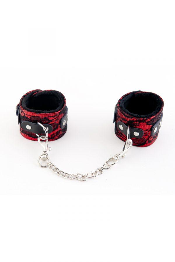 Кружевные наручники TOYFA Marcus красные, 42 см., Категория - БДСМ, фетиш/Фиксация и бондаж/Наручники, манжеты, Атрикул 0T-00005457 Изображение 1