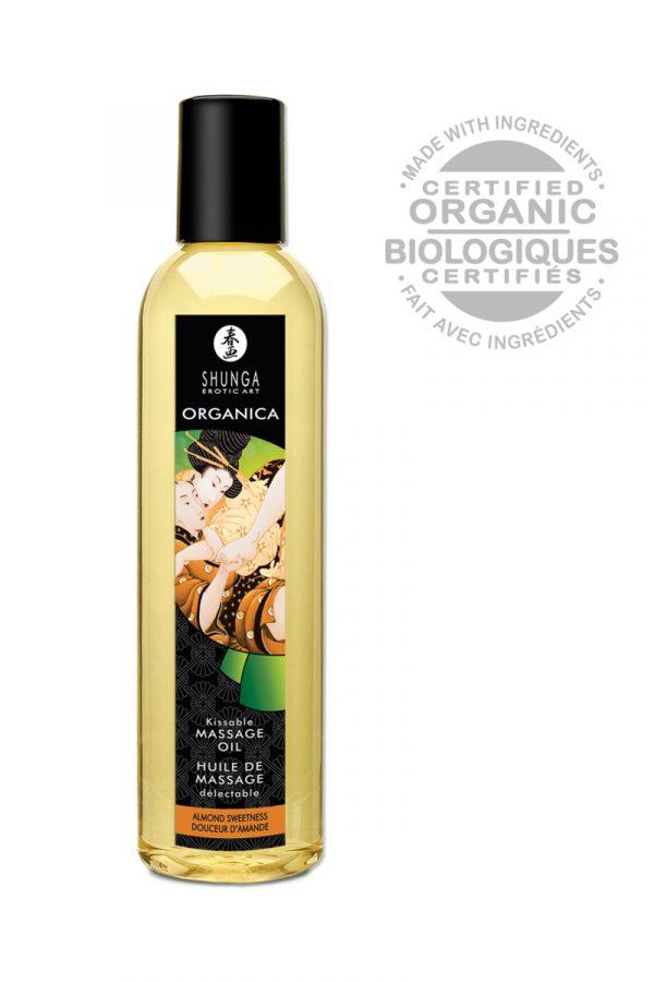 Возбуждающее массажное масло Shunga Organica с ароматом миндаля, 250 мл, Категория - Интимная косметика/Средства для массажа/Гели и масла, Атрикул 0T-00005959 Изображение 2