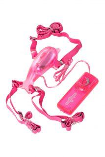 Вибратор поясной Seven Creations в форме ''дельфина'', ПВХ, розовый, Категория - Секс-игрушки/Стимуляторы клитора и наружных интимных зон/Бабочки, Атрикул 0T-00006723 Изображение 1
