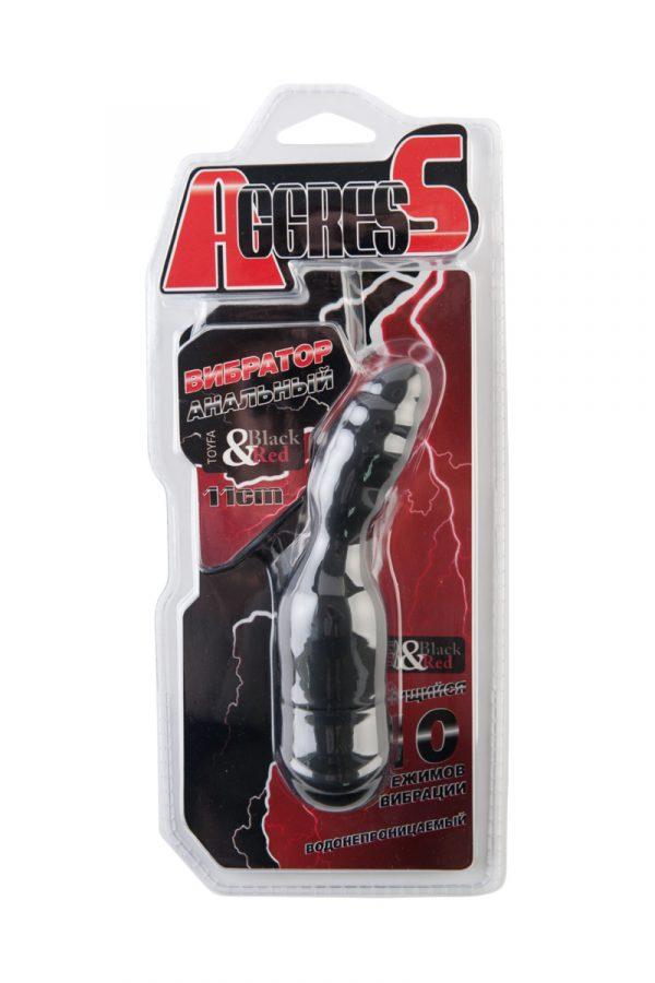 Анальный вибратор TOYFA Black&Red, 10 режимов вибрации, силиконовый, чёрный, 11,4 см, Категория - Секс-игрушки/Анальные игрушки/Анальные вибраторы, Атрикул 0T-00006032 Изображение 2