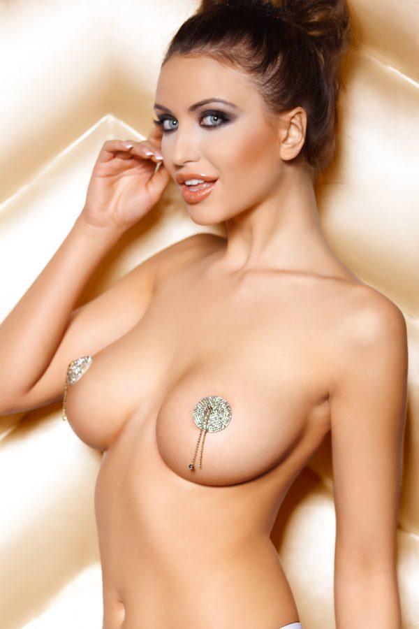 Наклейки на соски (пэстис) Anais Pearl круглые, со стразами и цепочками, металлические, серебристые, Категория - Белье и одежда/Аксессуары для белья и одежды/Украшения на грудь, Атрикул 0T-00006936 Изображение 1