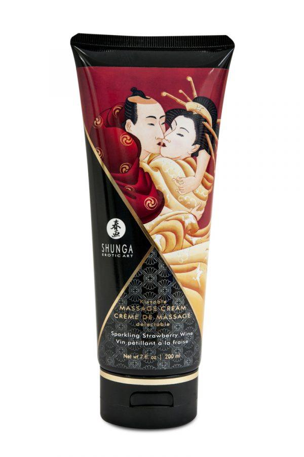 Массажный крем Shunga, съедобный, со вкусом клубники и шампанского, 200 мл, Категория - Интимная косметика/Средства для массажа/Гели и масла, Атрикул 0T-00007690 Изображение 1