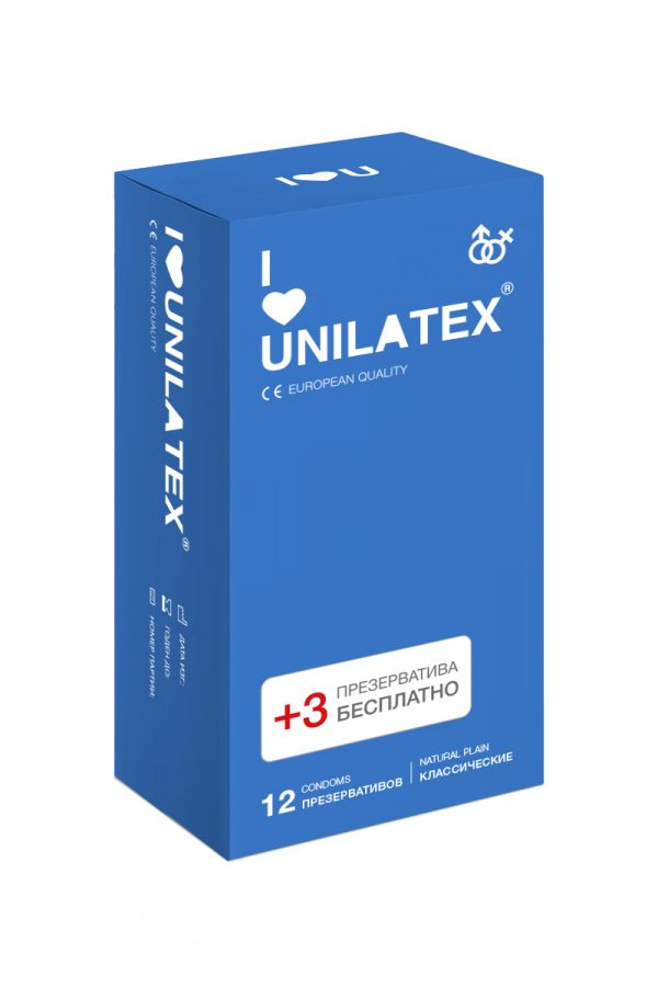 Презервативы Unilatex Natural Plain №12+3 гладкие классические, Категория - Презервативы/Классические презервативы, Атрикул 0T-00008228 Изображение 1