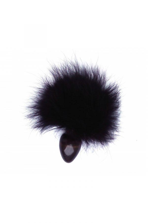 Анальная втулка с чёрным заячьим хвостом Ø 3,2 см, Категория - Секс-игрушки/Анальные игрушки/Анальные втулки с украшениями, Атрикул 0T-00008314 Изображение 1