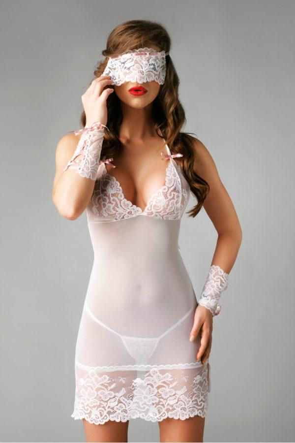 L/XL Ночная сорочка, стринги, маска и манжеты Me Seduce Bianca, белые, L/XL, Категория - Белье и одежда/Женское нижнее белье/Комбинации, ночные сорочки, пеньюары, Атрикул 0T-00008632 Изображение 1