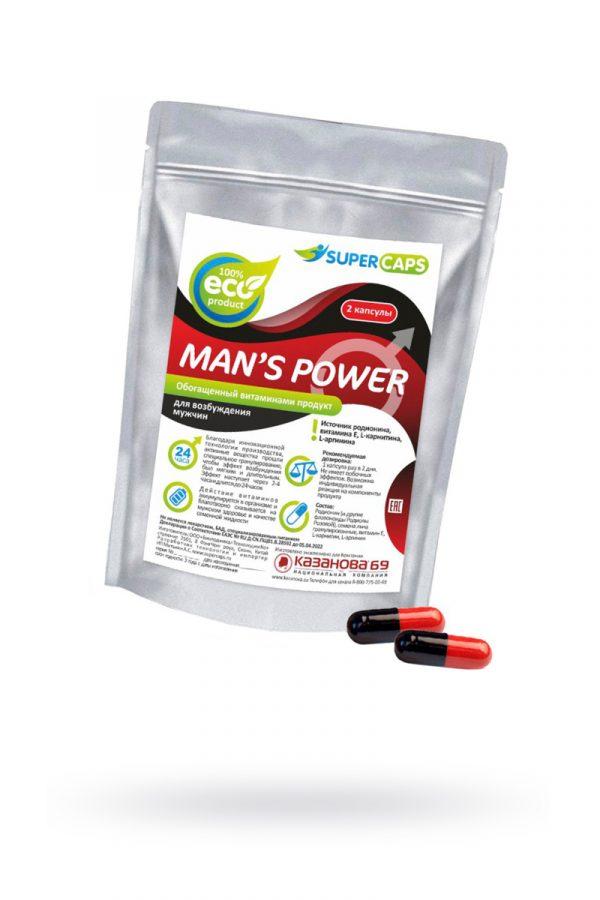 Капсулы Man''s Power+Lcamitin  возбуждающее средство 2 штук, Категория - БАДы/БАДы для мужчин, Атрикул 0T-00008843 Изображение 1