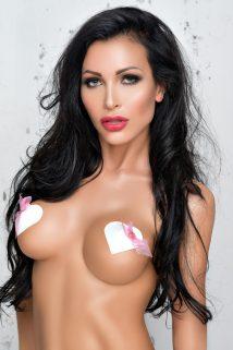 Наклейки на соски (пэстис) Me Seduce в форме сердечек с розовым бантом, белые, Категория - Белье и одежда/Аксессуары для белья и одежды/Украшения на грудь, Атрикул 0T-00008905 Изображение 1