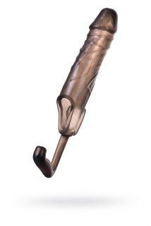Насадка ToyFa XLover, для увеличения размера с дополнительной стимуляцией,TPE, черная прозрачная, 15,4 см, Категория - Секс-игрушки/Кольца и насадки/Насадки на пенис, Атрикул 0T-00009588 Изображение 1