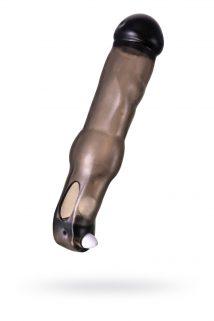 Насадка ToyFa XLover, для увеличения размера с вибрацией,TPE, черная прозрачная, 19,4 см, Категория - Секс-игрушки/Кольца и насадки/Насадки на пенис, Атрикул 0T-00009589 Изображение 1