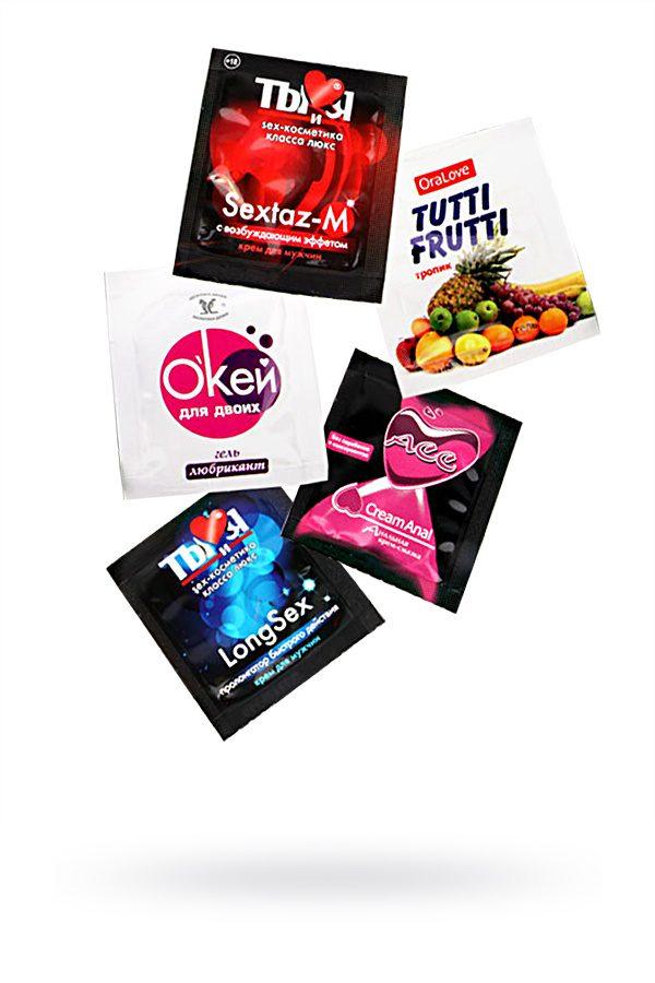 Набор'' Для 100%-го секс-эксперта'' 5 саше+ подарок, Категория - Гели, смазки и лубриканты/Гели и смазки для вагинального секса, Атрикул 0T-00010676 Изображение 1