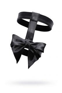 One Size Подвязка двойная с бантом, MENSDREAMS, экокожа, черный, OS, Категория - Белье и одежда/Аксессуары для белья и одежды/Украшения на руки, ноги, Атрикул 0T-00010814 Изображение 1