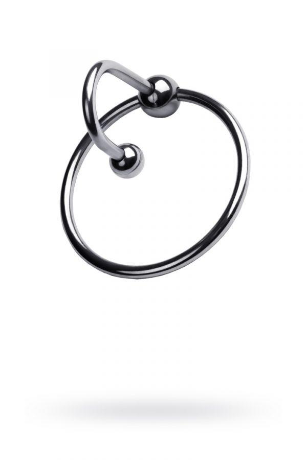 Кольцо на пенис TOYFA Metal с уретральным стоппером, серебристое, Ø4см, Категория - Секс-игрушки/Кольца и насадки/Кольца на пенис, Атрикул 0T-00009583 Изображение 1