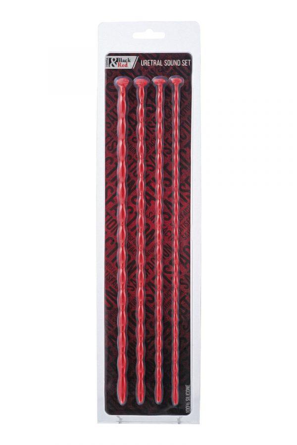 Набор уретральных зондов TOYFA Black&Red, 4 штуки, красный, Категория - БДСМ, фетиш/Медицинский фетиш, Атрикул 0T-00009987 Изображение 2
