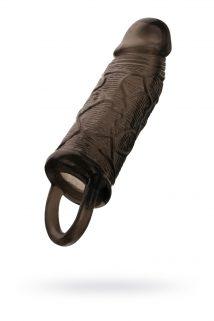 Насадка Toyfa XLover, для увеличения размера с кольцом, TPE, черная прозрачная, 14,5 см, Категория - Секс-игрушки/Кольца и насадки/Насадки на пенис, Атрикул 0T-00010640 Изображение 1