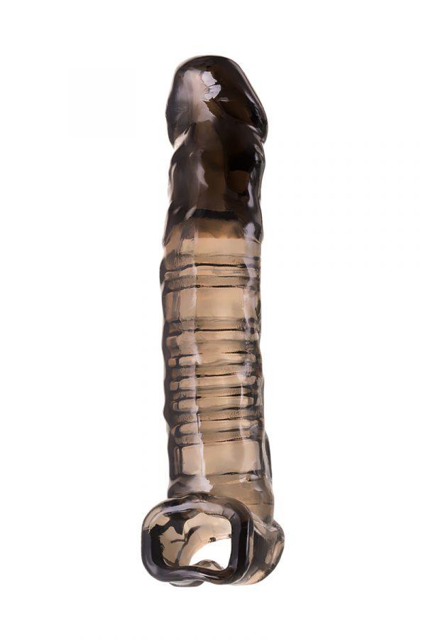 Насадка Toyfa XLover, для увеличения размера, TPE, черная прозрачная, 22.5 см, Категория - Секс-игрушки/Кольца и насадки/Насадки на пенис, Атрикул 0T-00010363 Изображение 3