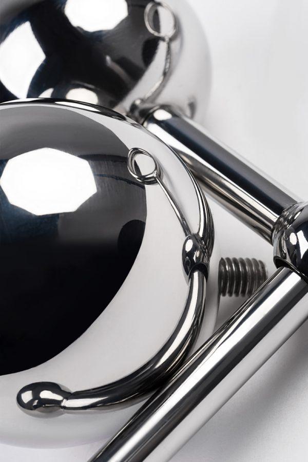 Стринги со сменными шарами, TOYFA Metal, серебристые, Категория - Секс-игрушки/Анальные игрушки/Анальные втулки с украшениями, Атрикул 0T-00009571 Изображение 3