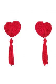 Наклейки на соски (пэстис) Anais Vellya в форме сердечек с розами и кисточками, красные, Категория - Белье и одежда/Аксессуары для белья и одежды/Украшения на грудь, Атрикул 0T-00011099 Изображение 1