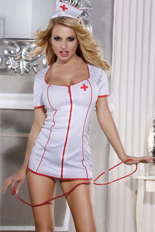 XL XL Костюм медсестры Candy Girl (платье, стринги, головной убор, стетоскоп), белый, Категория - Белье и одежда/Женская одежда и белье/Игровые костюмы, Атрикул 0T-00010948 Изображение 1